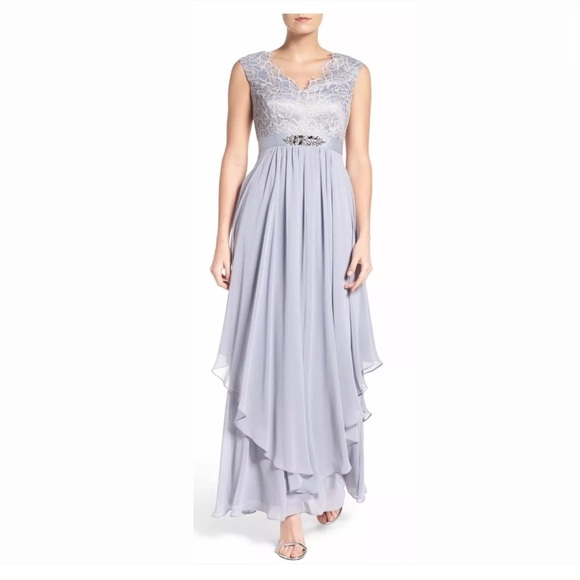 Eliza J Embellished Lace Chiffon Gown Silver Nwt